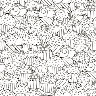 Padrão sem emenda de cupcakes preto e branco