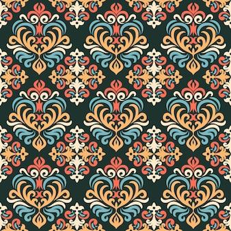 Padrão sem emenda de damasco, ornamento para tecido, papel de parede, embalagem. estampa decorativa