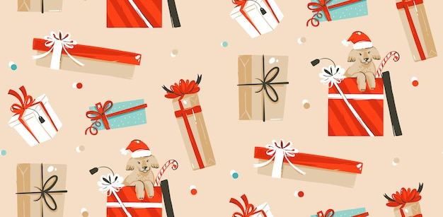 Padrão sem emenda de decoração de feliz natal feita à mão