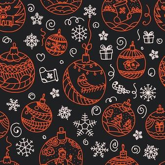Padrão sem emenda de decorações de natal. feliz natal e feliz ano novo