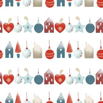 Padrão sem emenda de decorações para árvores de natal em estilo escandinavo