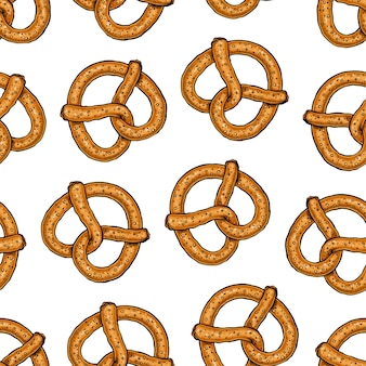 Padrão sem emenda de deliciosos pretzels