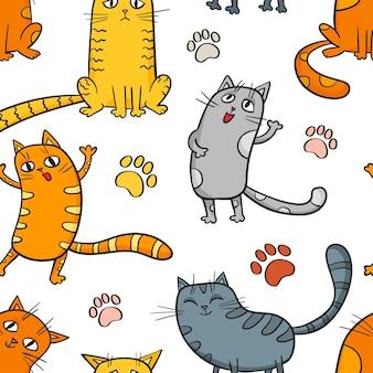 Padrão sem emenda de desenho animado com gatos engraçados fofos isolados no branco