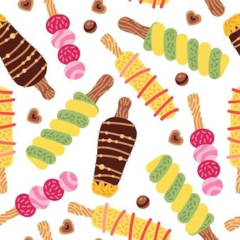 Padrão sem emenda de desenho animado com sorvete em cones de waffle