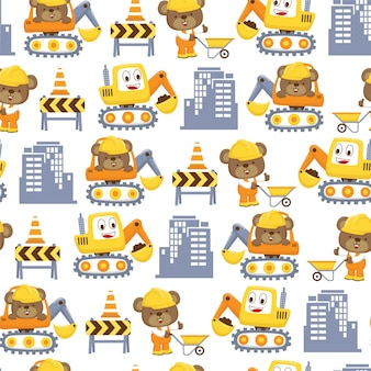 Padrão sem emenda de desenho animado com trabalhador engraçado e escavador feliz. tigre fofo vestindo uniforme de trabalhador enquanto empurra o carrinho de mão e outro urso fofo na escavadeira