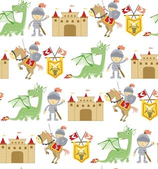 Padrão sem emenda de desenho animado de conto de fadas com dragão, cavaleiro, cavalo e castelo.