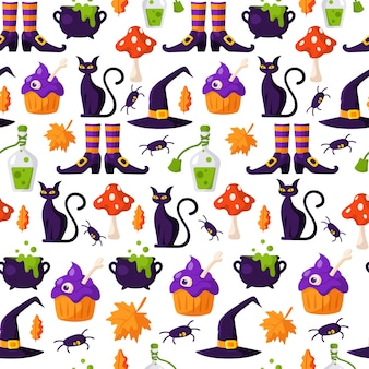 Padrão sem emenda de desenho animado de halloween - bolo assustador assustador com olho, gato preto, cogumelo agaric voar, caldeirão com poção