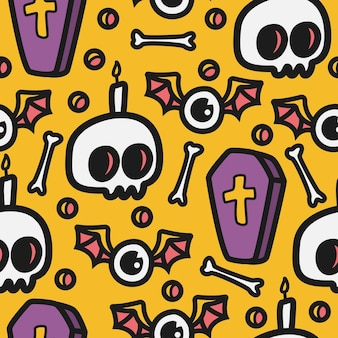 Padrão sem emenda de desenho animado de halloween com caveiras, ossos e caixões