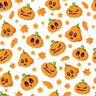Padrão sem emenda de desenho animado de halloween - lanternas de abóbora assustadoras com rostos assustadores e folhas de outono