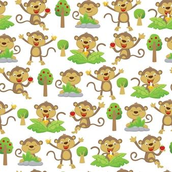 Padrão sem emenda de desenho animado de macacos engraçados com várias poses ou atividades