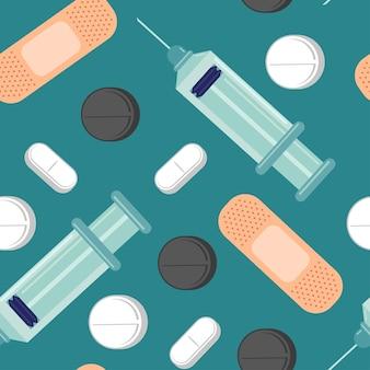 Padrão sem emenda de desenho animado médico sobre um fundo azul para papel de parede, embalagem, embalagem e pano de fundo.