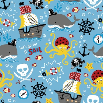 Padrão sem emenda de desenho animado tema piratas