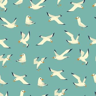 Padrão sem emenda de desenho de gaivotas em um fundo azul para papel de parede