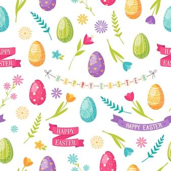 Padrão sem emenda de desenho de páscoa com ovos de flores e fitas