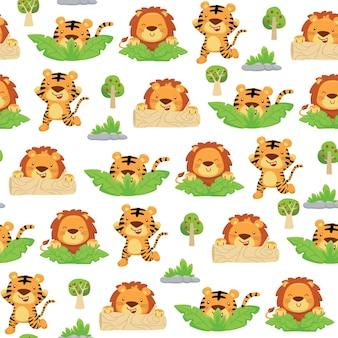 Padrão sem emenda de desenho de tigre e leão brincando de esconde-esconde