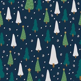 Padrão sem emenda de desenho infantil com árvore de inverno