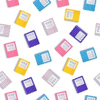 Padrão sem emenda de desenhos animados com cadernos coloridos em fundo branco para web, impressão, textura de pano ou papel de parede.