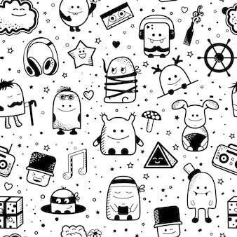 Padrão sem emenda de desenhos animados com monstros engraçados. personagens desenhados mão dos desenhos animados