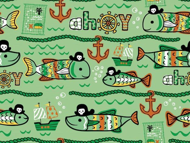 Padrão sem emenda de desenhos animados de piratas de peixes