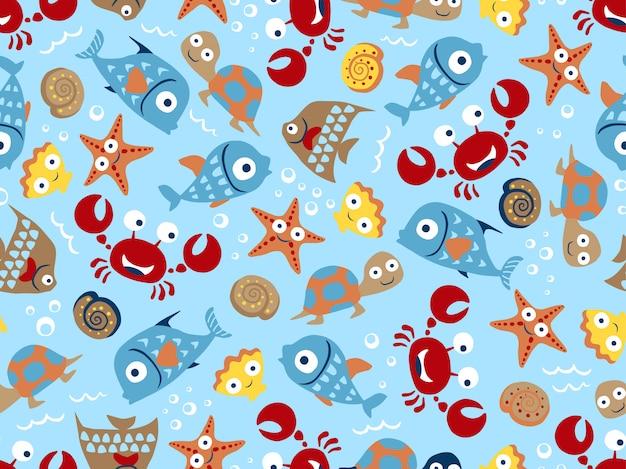 Padrão sem emenda de desenhos animados engraçados de animais marinhos