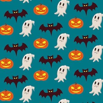 Padrão sem emenda de desenhos de halloween