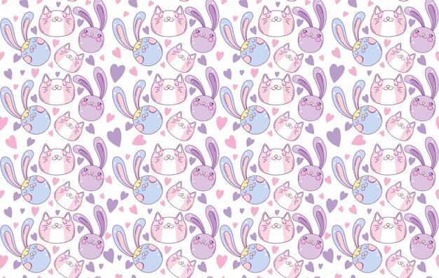 Padrão sem emenda de design de desenho animado de coelhos, personagem bonito de expressão kawaii engraçado e emoticon