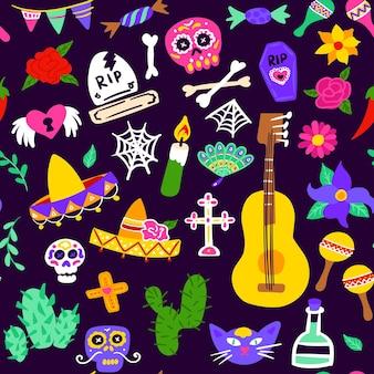 Padrão sem emenda de dia de los muertos. ilustração em vetor de fundo mexicano de férias.
