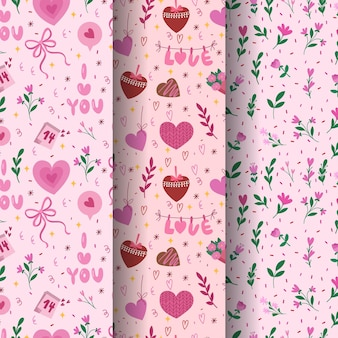 Padrão sem emenda de dia dos namorados. coleção de vetores de três modelos bonitos para papel de embrulho.