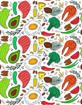 Padrão sem emenda de dieta cetogênica na mão desenhada estilo doodle. dieta baixa em carboidratos. nutrição paleo. proteína e gordura da refeição ceto. comidas saudáveis