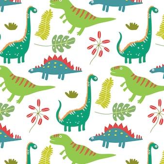 Padrão sem emenda de dinossauro com folhas tropicais coloridas