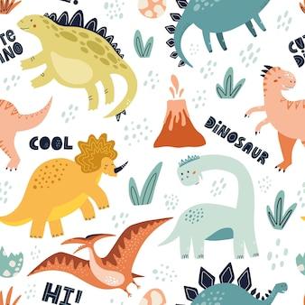 Padrão sem emenda de dinossauro fofo com letras. mão-extraídas ilustração vetorial para têxteis