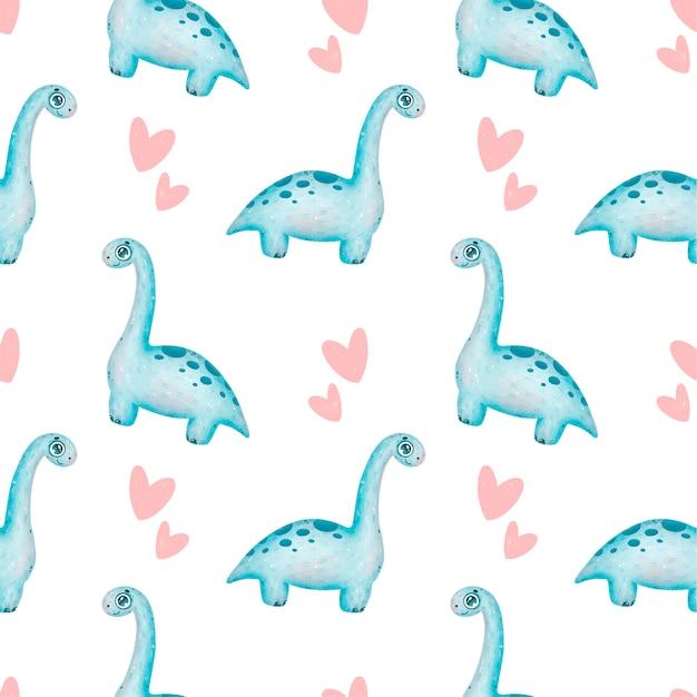 Padrão sem emenda de dinossauros bonito dos desenhos animados