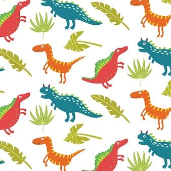 Padrão sem emenda de dinossauros de folhas tropicais