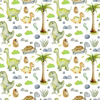 Padrão sem emenda de dinossauros e tartarugas em aquarela