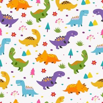 Padrão sem emenda de dinossauros para crianças