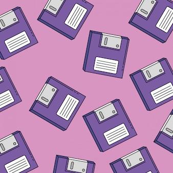 Padrão sem emenda de disquetes do estilo retrô dos anos noventa