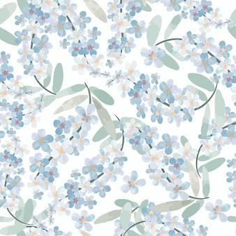 Padrão sem emenda de doce flor azul claro.