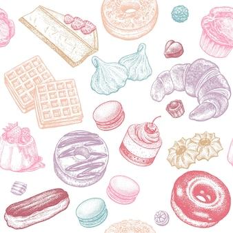 Padrão sem emenda de doces, bolos e pãezinhos
