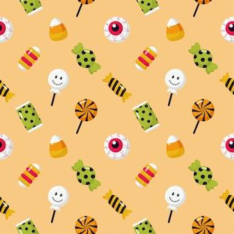 Padrão sem emenda de doces de halloween doces ou travessuras