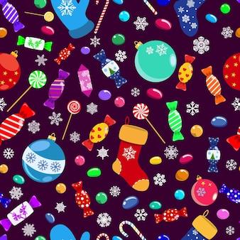 Padrão sem emenda de doces, pirulitos, doces, bolas de natal e meias