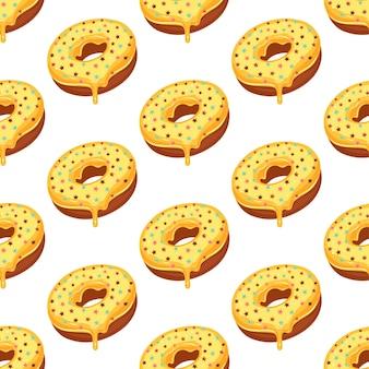 Padrão sem emenda de donut com cobertura de açúcar amarelo