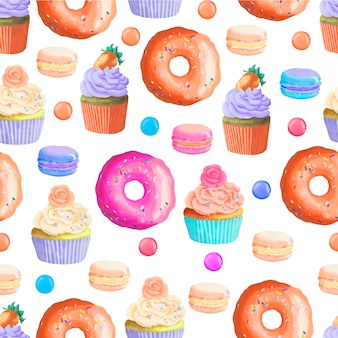 Padrão sem emenda de donuts de ilustração vetorial de desenhos animados