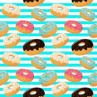 Padrão sem emenda de donuts doce fofo. sobremesas de verão
