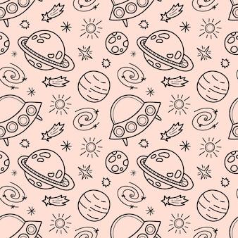 Padrão sem emenda de doodle de espaço preto e branco - desenhado à mão, espaço, estrelas, planeta, nave espacial e ufo, papel de embrulho