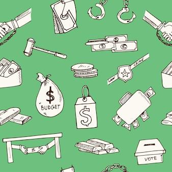 Padrão sem emenda de doodle desenhado à mão corrupção