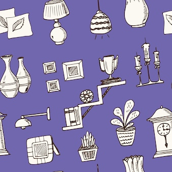 Padrão sem emenda de doodle desenhado à mão para decoração de casa