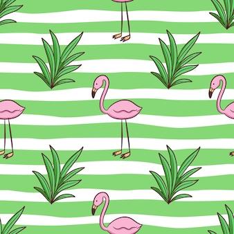 Padrão sem emenda de doodle flamingo e grama para o conceito de verão