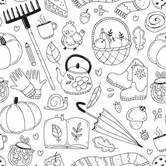Padrão sem emenda de doodle preto e branco com elementos de outono. ilustração em vetor