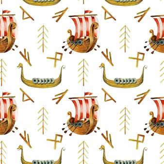 Padrão sem emenda de drakkars e runas em aquarela viking