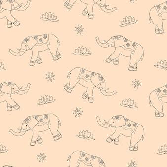 Padrão sem emenda de elefante decorado